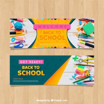 Bannière web retour à l'école avec collection de photos