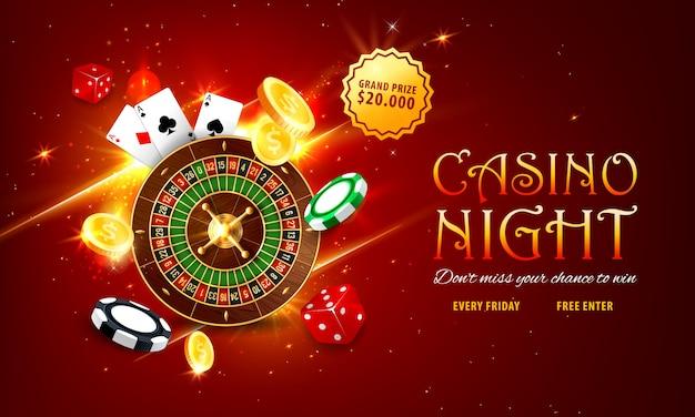 Bannière web de roulette de casino internet, page de destination