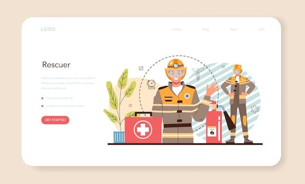 Bannière web de sauveteur d'urgence ou sauveteur d'ambulance de page de destination