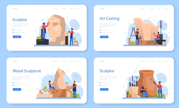 Bannière web de sculpteur professionnel ou ensemble de pages de destination. création de la sculpture du marbre, du bois et de l'argile. artiste créatif. art et passe-temps.
