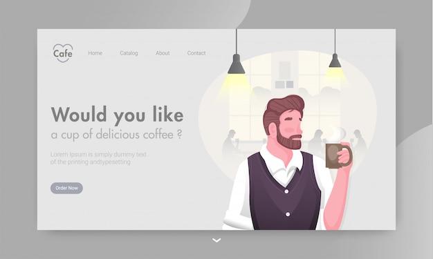 Bannière web sensible ou une page de destination avec un homme sans visage, boire du café au restaurant.