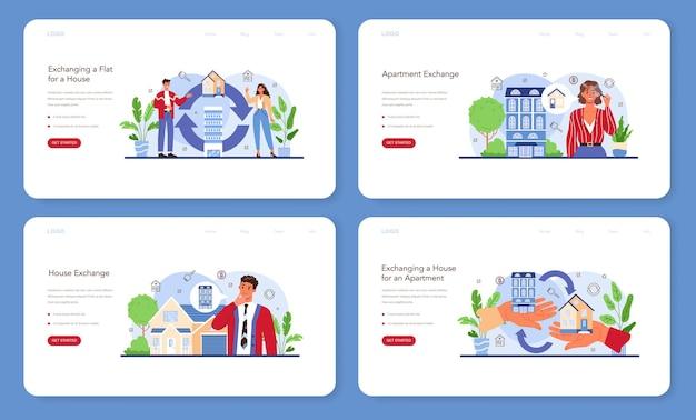 Bannière web de service d'agence immobilière ou ensemble de pages de destination agent immobilier qualifié