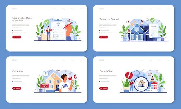 Bannière web de service d'agence immobilière ou ensemble de pages de destination. assistance