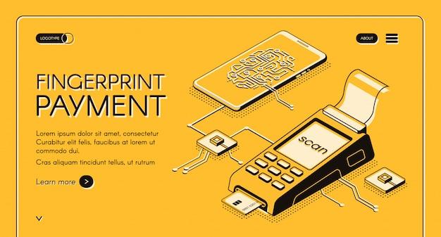 Bannière web de service de paiement par empreinte digitale avec puce numérique, empreinte digitale et carte de crédit
