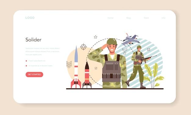 Bannière web de soldat ou employé de la force militaire de la page de destination en tenue de camouflage