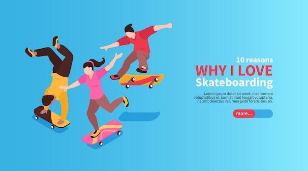 Bannière web de sport de rue extrême avec des jeunes à cheval sur des planches à roulettes