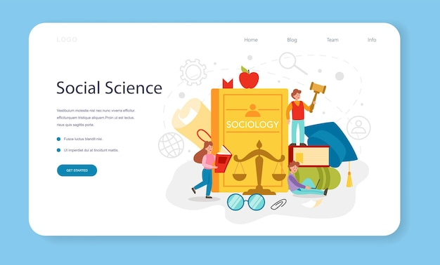 Bannière web de sujet d'école de sociologie ou étudiants de page de destination étudiant