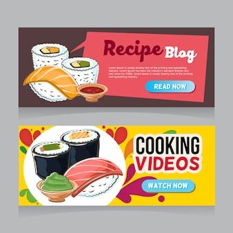 Bannière web de sushi doodle
