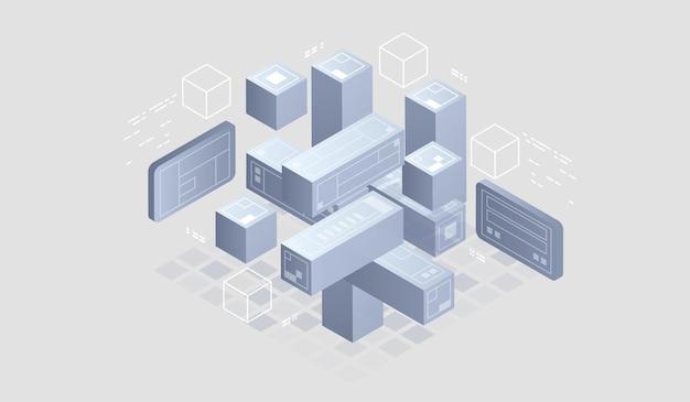 Bannière web de technologie numérique isométrique