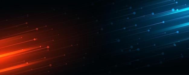 Bannière web de technologie avec une séquence de lumières bleues et rouges