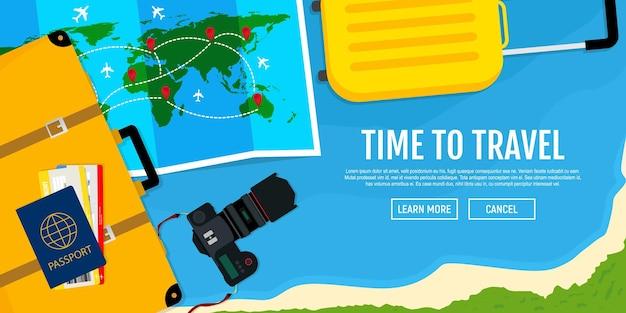 Bannière web sur le thème du voyage plat