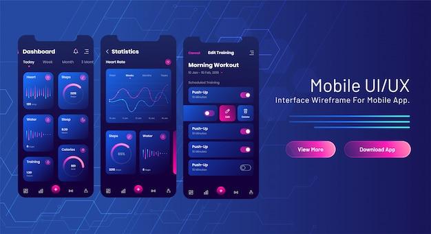Bannière web ui / ux mobile avec écran d'analyse de l'application mobile sur le circuit bleu.