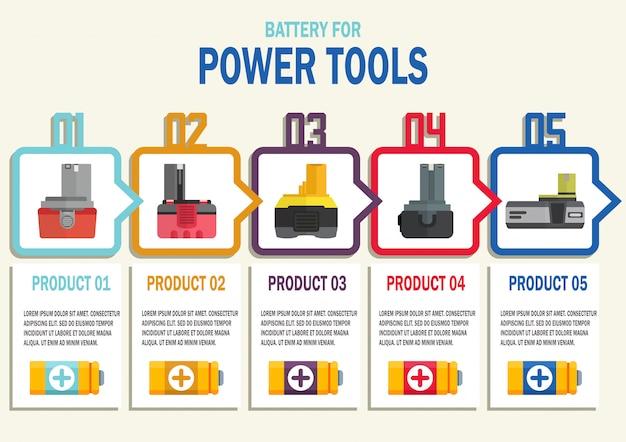 Bannière web vecteur - batteries pour outils électriques sans fil