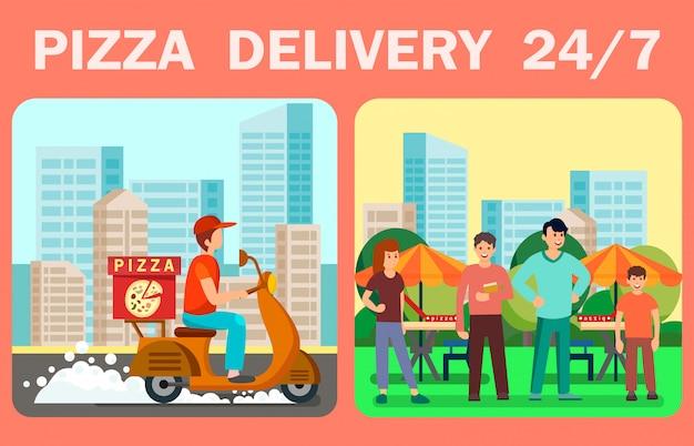 Bannière web de vecteur de livraison de pizza vingt-quatre heures