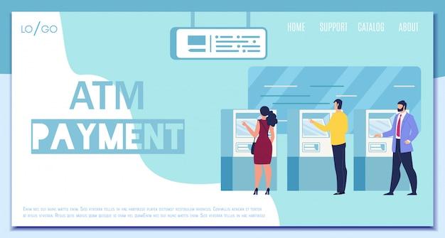 Bannière web vecteur de paiement atm moderne plat web