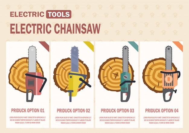Bannière web vecteur série série de scies à chaîne électriques