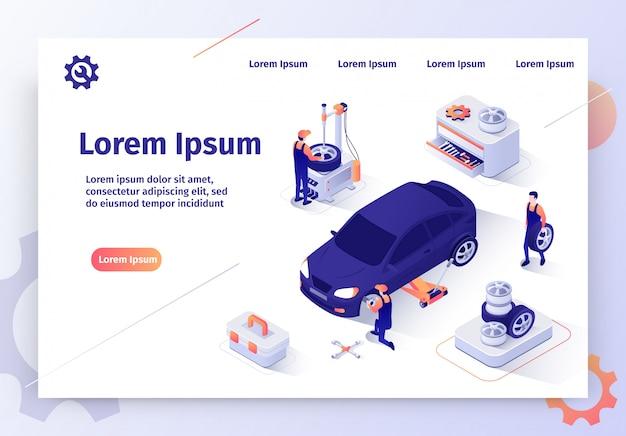 Bannière web vecteur voiture isométrique atelier de réparation automobile