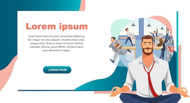 Bannière web vector de résistance au stress dans le travail de bureau