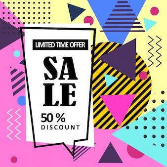 Bannière web de vente abstraite memphis style.