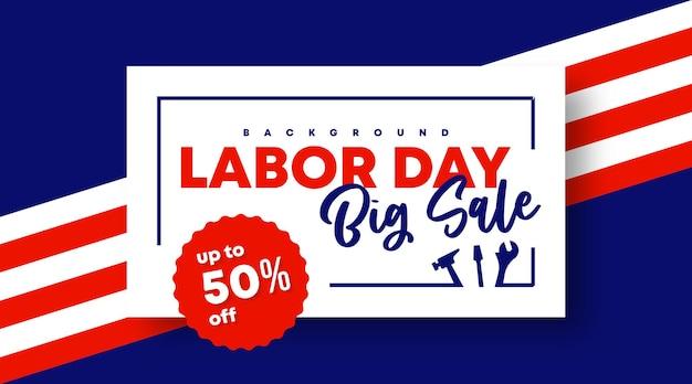 Bannière web de vente de fête du travail et vecteur d'illustration de fond de flyer