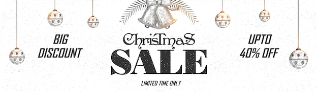 Bannière web de vente de noël avec des boules de noël accrochantes, jingle bells