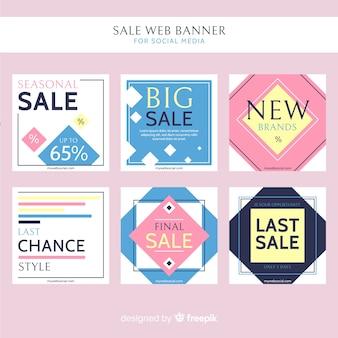 Bannière web de vente pour la collecte de médias sociaux