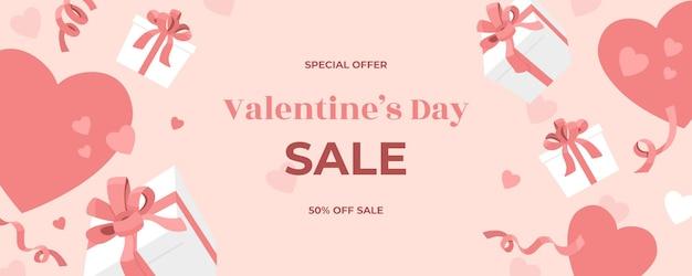 Bannière web de vente saint valentin, coffrets cadeaux tombant avec rubans de vacances, confettis et arcs