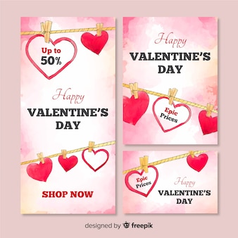 Bannière web de vente de saint valentin
