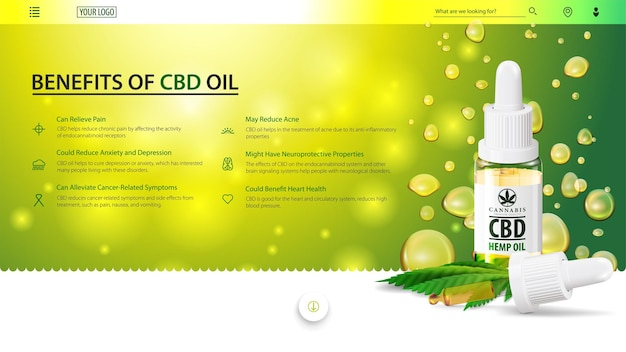 Bannière web verte pour site web avec bouteille en verre d'huile de cbd, feuille de chanvre et pipette sur des gouttes d'huile.