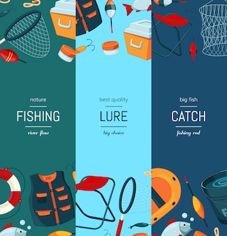Bannière web verticale sertie de matériel de pêche de dessin animé