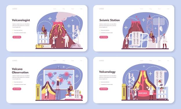 Bannière web de volcanologue ou ensemble de pages de destination