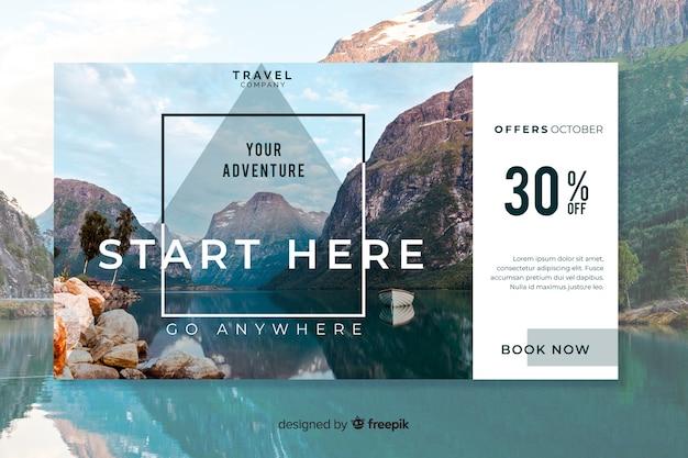 Bannière web de voyage avec photo