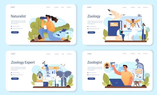 Bannière web de zoologiste ou ensemble de pages de destination. scientifique explorant et étudiant la faune
