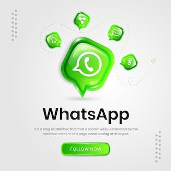 Bannière whatsapp d'icônes de médias sociaux