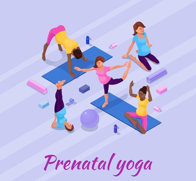 Bannière de yoga de grossesse avec femme enceinte