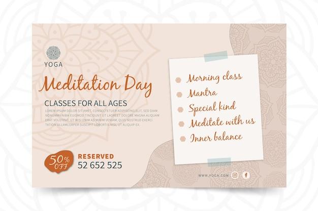 Bannière de yoga journée de méditation