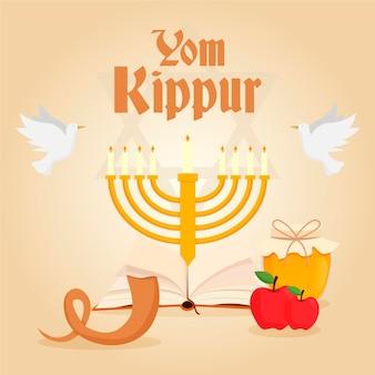 Bannière de yom kippour avec bougies et corne