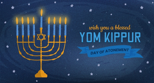 Bannière de yom kippour avec des bougies