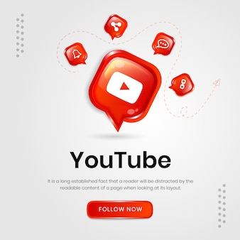 Bannière youtube d'icônes de médias sociaux