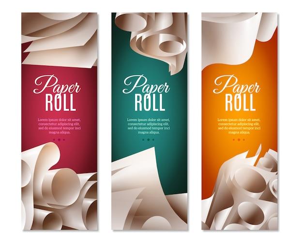 Bannières 3d de rouleaux de papier