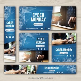 Bannières abstraite cyber lundi