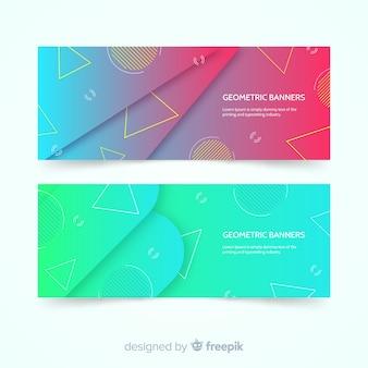 Bannières abstraites colorées avec un dessin géométrique