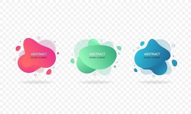 Bannières abstraites dégradées avec des formes liquides fluides. ensemble d'éléments graphiques modernes abstraits isolés sur fond blanc. illustration vectorielle eps 10