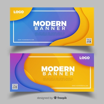 Bannières abstraites avec design plat