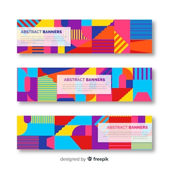 Bannières abstraites avec dessin géométrique