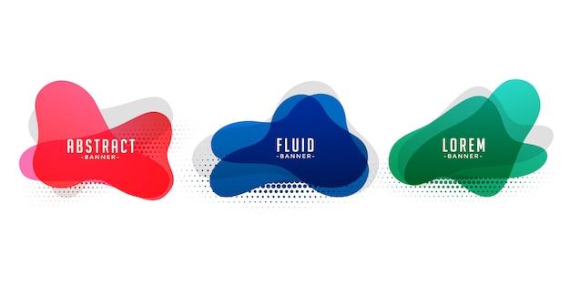 Bannières abstraites de forme liquide avec motif de demi-teintes