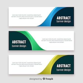Bannières abstraites avec des formes géométriques colorées