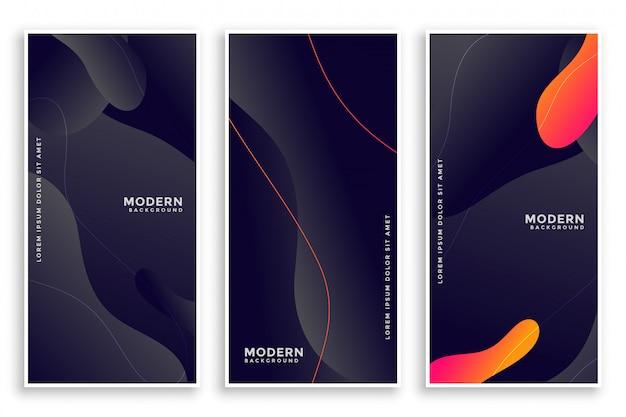 Bannières abstraites de style fluide sombre ensemble de trois