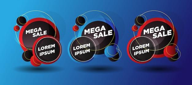 Bannières abstraites de vente de mega avec le jaune rouge en ventes