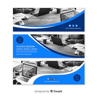Bannières d'affaires modernes avec photo